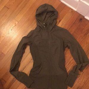Lululemon army green zip up hoodie